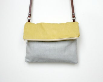Foldover bag Colorblock Purse Yellow Grey washed canvas handbag sunshine leather strap Black Friday Cyber Monday Sale