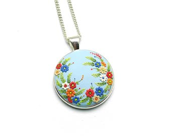 Romantic-jewelry Boho-jewelry Boho-necklace Gift-for-bride Flower necklace Gift-for-women Romantic gifts Embroidery pendant Gift for her