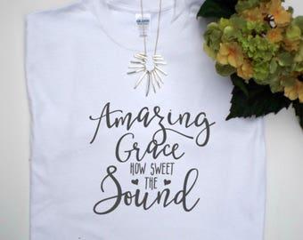 Amazing Grace, Christian tshirts, Christian tees, Christian clothing, Christian gifts, Christian shirts, Inspirational shirts, Faith tees