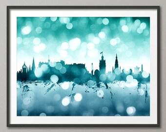 Edinburgh Skyline, Edinburgh Scotland Cityscape Art Print (2595)
