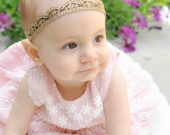 Gold Baby Headband, Lace Headband Baby, Lace Crown, Lace Baby Headband, Toddler Headband, Newborn Crown, Baby Headband, Newborn Headband