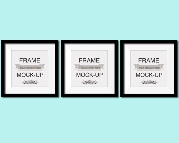 Square frame mockup three frames black frames teal wall