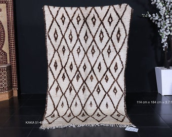 Authentic Moroccan rug 3.7ft x 6ft Large beni rug all handmade by 100% genuine wool