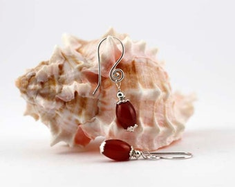 Carnelian Gemstone and Sterling Silver Earrings