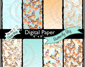 We Are 3 Digital Paper, Butterfly Sky