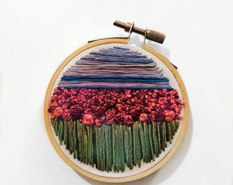 Strawberry Fields Forever Floral Embroidery Hoop Needlepoint