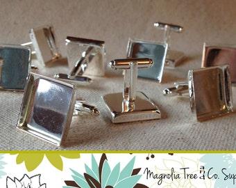 Square Cufflinks, 18mm, DIY cuff links, Shiny Silver, Bezel Blank, bezel settings, recessed cufflink, makes 5 pairs (WS7-SP10)