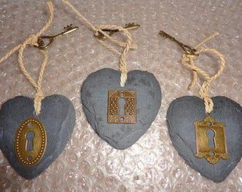 Key To My Heart Gift - Slate Heart, Lock & Key