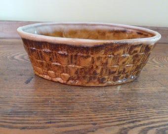 Vintage Oval Ceramic Planter-Basket Weave Pattern-Nice!