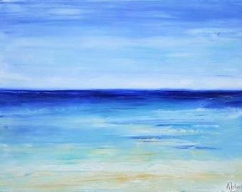 "Ocean art Abstract beach painting Beach painting Beach art Ocean abstract painting Seascape painting Oil painting by Alina Jelvez 18x24"""