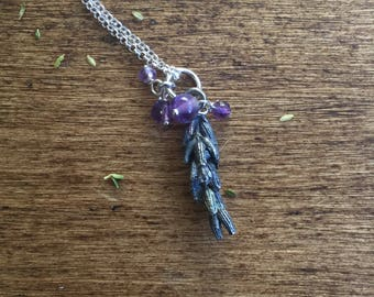Sterling silver lavender necklace with amethysts, amethyst necklace
