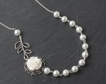 White rose necklace, White Bridesmaid necklace, white pearl necklace, bridesmaid gift, white wedding necklace, Maid of honor gift