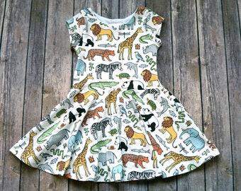Zoo Dress. Safari Dress. Kid Safari Dress. Toddler Dress. Little Girl Dress. Twirl Dress. Twirly Dress. Baby Dress. Play Dress. Comfy Dress.