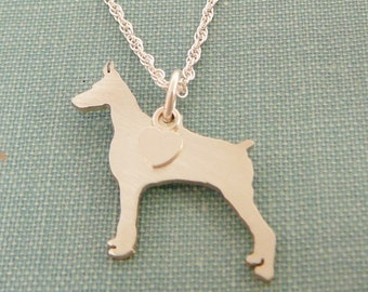 Doberman Pinscher Dog Necklace, Sterling Silver Personalize Pendant, Breed Silhouette Charm Rescue Shelter, Mothers Day Gift