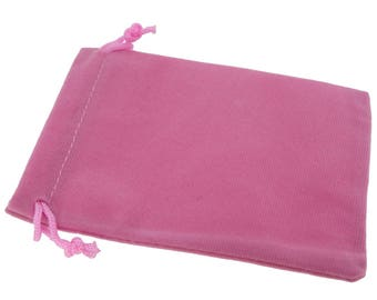 Wholesale Lot of 12 Pink Color Soft Velvet Pouches with Drawstrings for Gift Packaging, 3 Sizes available