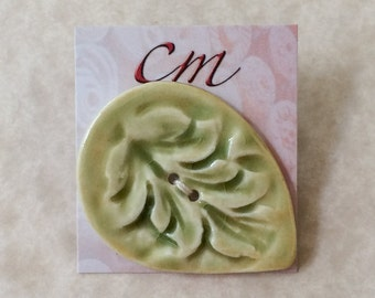 Spring Green Leaf Porcelain Buttons, Green Porcelain Buttons, Leaf Buttons, Green Leaf Buttons, Gift for Knitter, Gift for Crocheter, Leaf