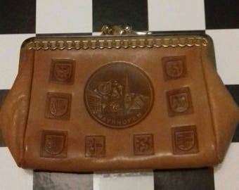 Small brown vintage coin purse