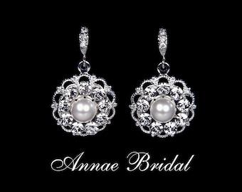 "Bridal jewelry, wedding, White pearl and rhinestone earrings, silver, ""Pearls & Lace"" earrings"
