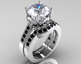 Classic 14K White Gold 3.0 Carat White Sapphire Black Diamond Solitaire Wedding Ring Set R301S-14KWGBDWS