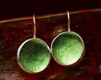 Peridot Green Earrings, Olive Green Earrings, August Birthstone Earrings, cabochon earrings, glass earring, silver earring, lime green