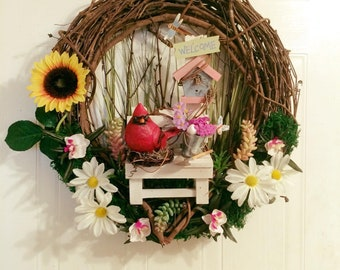 """18"""" Red Cardinal Spring Welcome wreath"""
