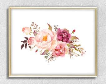 Garden pink peony print watercolor flowers print flower wall art flower poster home decor office decor peony rose