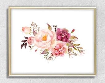 Garden Pink Peony Print Watercolor Flowers Print Flower Wall Art Flower  Poster Home Decor Office Decor