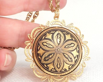 Vintage Filigree Damascene Pendant Necklace Gold Damascene Design Pendant Necklace Gift for Her Girlfriend Gift Gold & Black Necklace