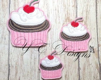 Valentine's Day Cupcake Cherry on top Feltie Embroidery File