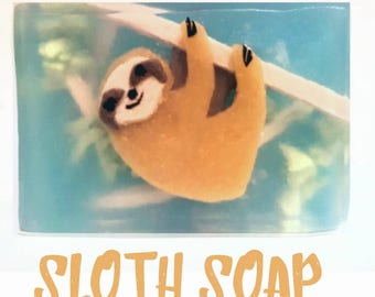 Soap Bar Vegan / Sloth Soap / Chocolate Orange / SLS Free Soap / Vegan Gift / Hand Body Face Soap / Stocking Filler / kids Novelty Soap