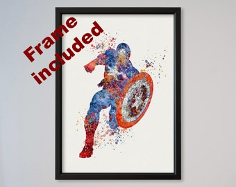 Captain America Poster Watercolor Print Comics The Avengers Assemble The First Avenger FRAMED express service fast delivery