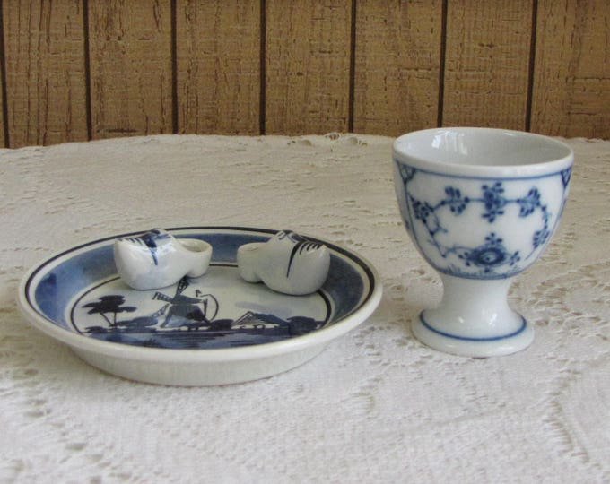 Blue and White Little Plate with Dutch Shoes and Small Egg Cup Holland and Denmark Miniatures Windmills