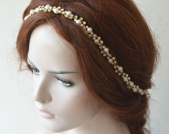 Bridal  Rhinestone and Pearl  headband,  Gold Wedding  Hair Piece, Hair Accessories Wedding, Head Piece for Bride, Pearl Hair Vine