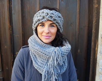 headband and scarf winter set, winter accessories, infinity scarf, winter outfit, knitting fashion, gift for her, chunky knitting set