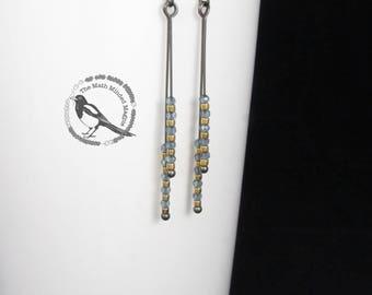 Minimalist Earrings // London Blue Topaz & Gold // Oxidized Sterling Silver
