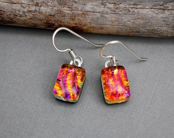 Pink and Orange Earrings - Unique Earrings - Fused Glass Earrings - Birthday Gift For Her - Dichroic Glass Earrings - Dangle Earrings