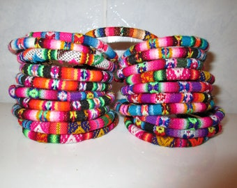 Wholesale Lot 100 Peruvian fabric textile Bracelets Rainbow Colors Handmade Peru