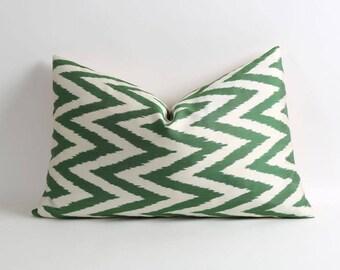 Ikat pillow cover 16x26 silk ikat pillow Green white chevron zigzag pillow