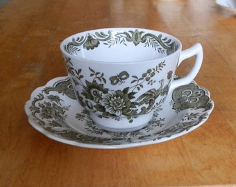 Ridgway Staffordshire WINDSOR Floral Pattern Green and White Tea Cup and Saucer c1960