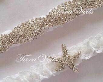 Wedding / Bridal / Clear Rhinestone Garter/ Rhinestone Garter/ wedding garters / bridal garter/ lace garter / Vintage Garter