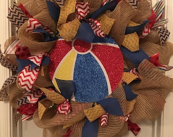 Beach ball burlap wreath