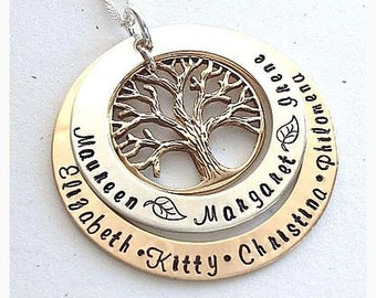 2 Tone Silver & Gold Family Tree - Engraved - Hand Stamped Personalised Name Necklace Pendant