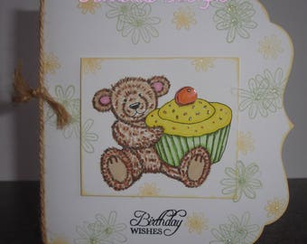 Handmade, hand coloured birthday card bear and cupcake