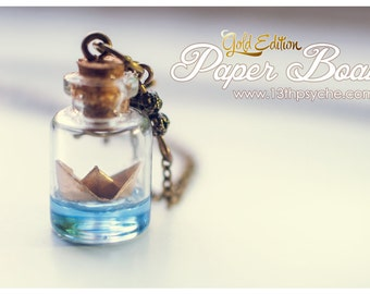 Inspirational gift for women,Golden Paper Boat bottle Necklace,Glass Bottle Pendant. Ocean necklace, origami boat necklace, nautical jewelry