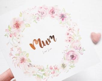 Floral Card, Personalised Greetings Card, Foil Card