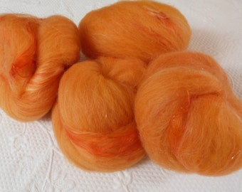 Merino silk milk silk Angelina 280 g medium handkadiert hand dyed Orange gold Campari Orange