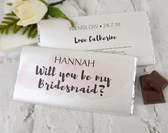 Will you be my bridesmaid watercolour chocolate bar - be my bridesmaid - will you be my bridesmaid - bridesmaid gift - maid of honour gift