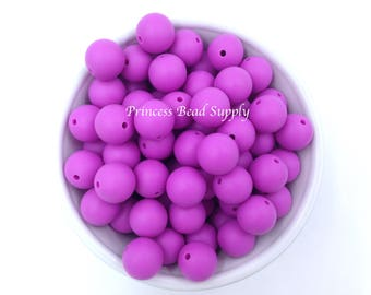 Silicone Beads, 15mm Orchid Purple Silicone Beads, Silicone Teething Beads,  Silicone Beads Wholesale, Sensory Beads, Teething Beads