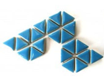 50 15mm Turquoise Blue Glazed Ceramic Triangle Mosaic Tiles//Mosaic Pieces//Mosaic Supplies//Crafts