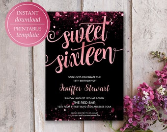 sweet 16 invite templates